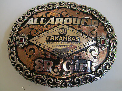 $65 • Buy Arkansas Little Britches Sr Girl Championship Cowboy Rodeo Belt Buckle