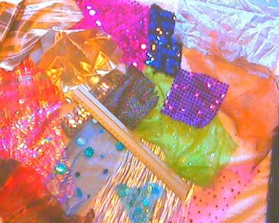 Sequin/sparkly Fabric Off-cuts/scraps For Collage/card Making/ Kids Crafts Etc   • 4.45£