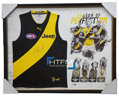 AU1295 • Buy Dustin Martin Signed Richmond Jumper Season Of Perfection Framed With 4 Medals