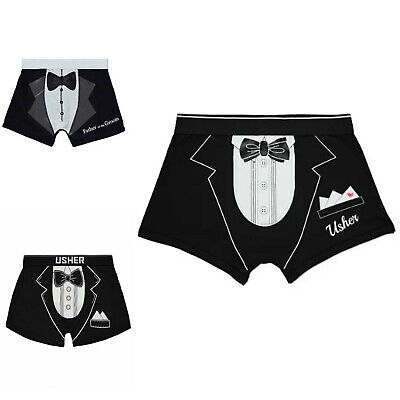 Mens WEDDING BOXERS SOCKS Stag Do Bow Tie Trunk Shorts Father Of GROOM Best Man • 7.49£