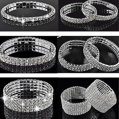 Diamante Stretch Bracelet Bling Sparkly Rhinestone Crystal For Ladies And Women • 3.57£
