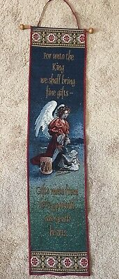 ANGEL SHEPHERD LAMB Christmas Tapestry Bell Pull Wall Hanger  For Unto The KING  • 11.59£