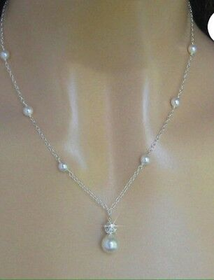 Swarovski Crystal Pearl Bridal Necklace, Wedding Bridesmaid Gift Jewellery's • 9.99£