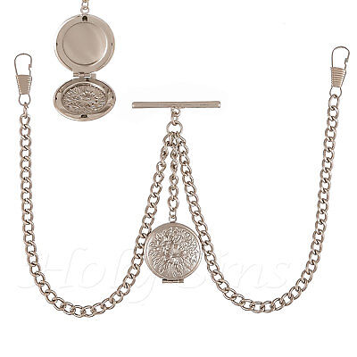£9.99 • Buy Brand New Silver Colour Double Albert Pocket Watch Fob Chain With Locket
