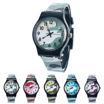 £4.27 • Buy Kids Children Easy To Learn Fashion Analogue Camouflage Silicone Band Wristwatch