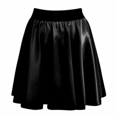 Womens Ladies Sexy High Waist Faux Leather Wet Look Skater Mini Flare Skirt 8 26 • 6.90£