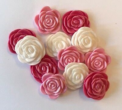 £5 • Buy 12 White & Pink Roses Valentines Wedding Edible Icing Cake Toppers