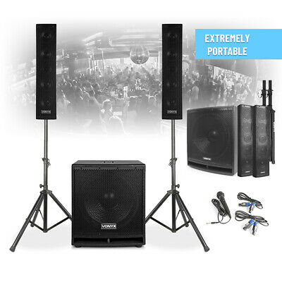 VX880 Active PA Speaker System With Stands & Mic Bluetooth Loud Mobile DJ Set • 289£