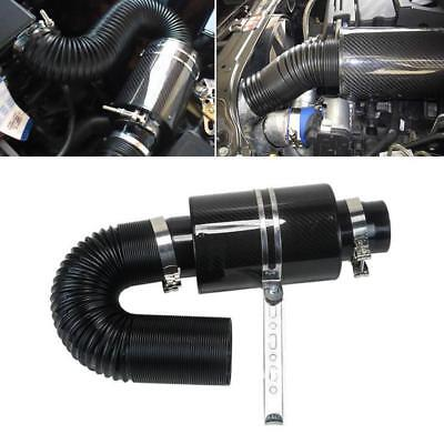 $58.89 • Buy Universal 3  Filter Box Black Carbon Fiber Induction Ram Cold Air Intake System