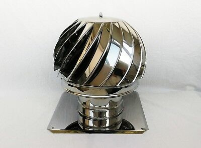 CHIMNEY SPINNER COWL With BASE PLATE Stainless Steel Spinning Rotating Cap Cover • 22.90£