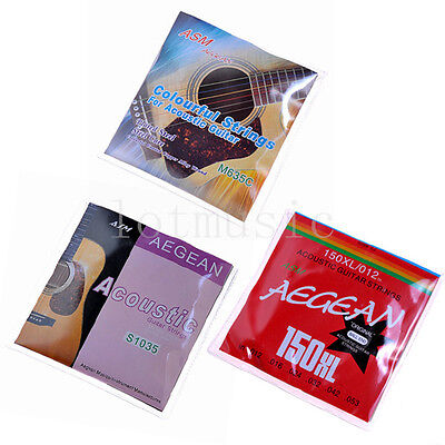 $ CDN13.32 • Buy 3 Sets Different Acoustic Guitar Strings Set Extra Light Colorful Ball End