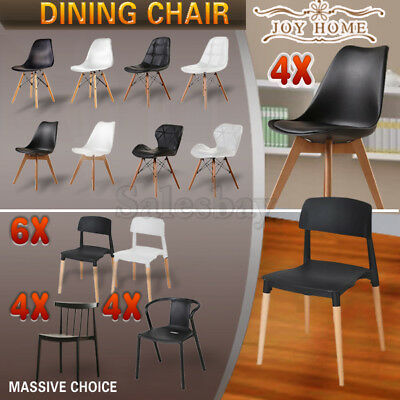 AU150.49 • Buy 4X 6X Wooden Retro Replica /PU Padded Eiffel Dining Chairs Cafe Office Kitchen