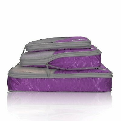 AU24.17 • Buy Travel Compression Packing Cubes Expandable Packing Organizer 3 Pieces - Purple