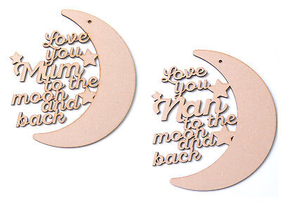 £4.25 • Buy Love You To The Moon And Back Plaque Mum Nan Mother's Day Gift Wooden Blank