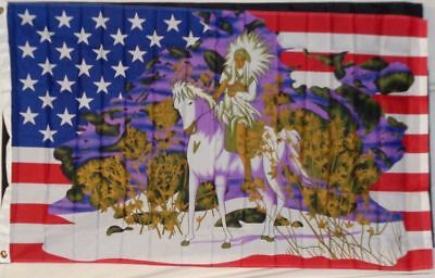 $7.33 • Buy Indian & Horse In Snow US Flag 3x5 Ft USA United States America Native American
