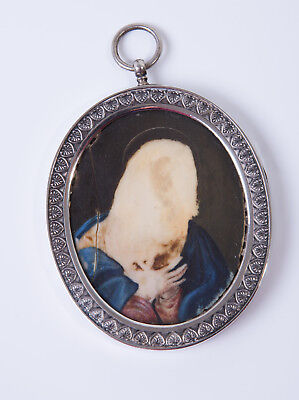 £225 • Buy Huge Antique Victorian Sterling Silver & Religious Icon Portrait Locket