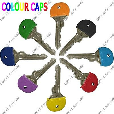 £1.98 • Buy 10 X Coloured Key Top Cover Caps Assorted Head Covers ID Tag Cap Ring Keyring