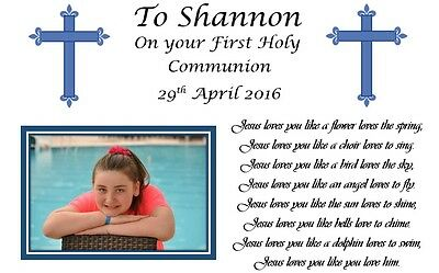 Personalised Communion Photo Keepsake Photo Gift & Poem For Boy Girl Baptism Etc • 2.99£