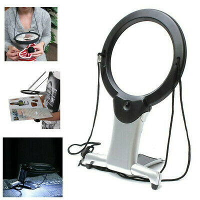 6X Large Magnifying Glass With Light Led Lamp Giant Magnifier Reading Hands Free • 6.99£