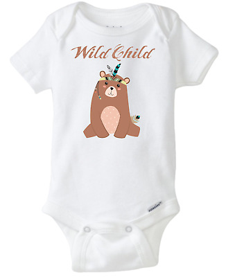 Boho Style Bear Wild Child Baby Onesie Cute For Baby Boy And Baby Girl Unisex  • 10.69£