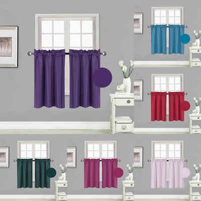 $8.20 • Buy Kitchen Rod Pocket Insulated Blackout Window Tier Curtains 1 PAIR 30 X36  RS5