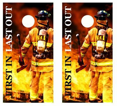 £32.72 • Buy Firefighter  First In Last Out   Cornhole Board Wraps FREE LAMINATION 2232