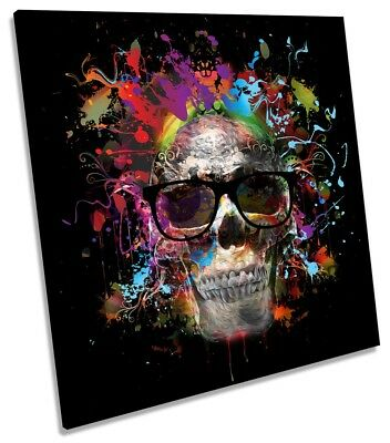 Skull Urban Graffiti Picture CANVAS WALL ART Square Print • 24.99£