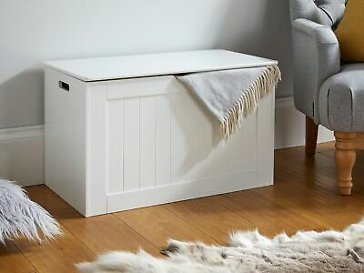 Large White Wooden Storage Chest Ottoman Laundry Box Home Trunk • 49.99£