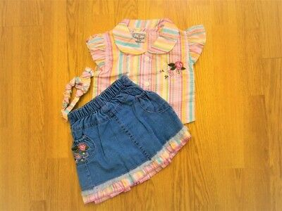 £9.99 • Buy Baby Girl Denim Skirt With Striped Short Sleeved Top And Headband Set