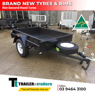 AU895 • Buy 6x4 SINGLE AXLE HEAVY DUTY BOX TRAILER | SMOOTH FLOOR | FIXED FRONT | NEW TYRES