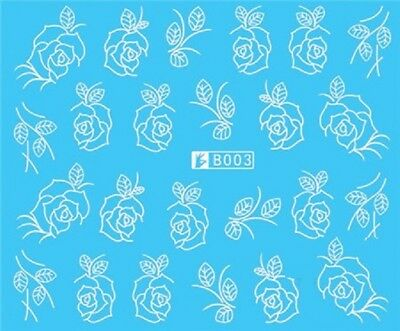 £1.75 • Buy Nail Art Stickers Water Decals Transfers White Mono Flowers Roses (B003)