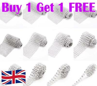 Metre SILVER Diamante Rhinestone Sparkling Diamond Wedding Cake Trim Ribbon Mesh • 0.99£