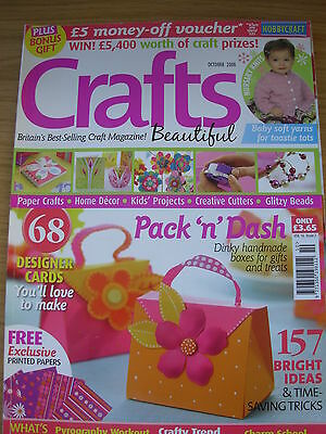 Crafts Beautiful Craft Magazine October 2008 68 Designer Cards Knitting & More • 4.99£