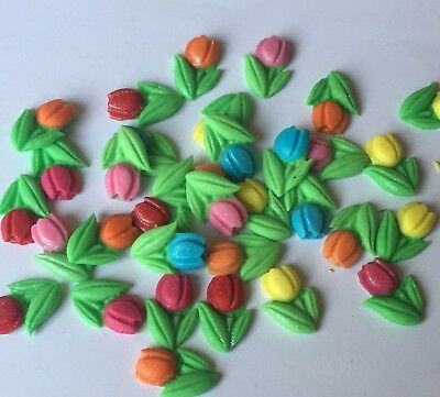 24 Tulips Spring Flowers Edible Icing Sugarpaste Cake Toppers • 4.50£