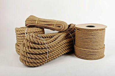 Natural Jute Rope Twisted Decking Cord Camping Garden Boating Sash 50m & 100m • 32.65£