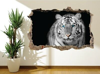 Wall Sticker White Tiger Blue Eye Stare Nature Wildlife Wall Mural 23965463) • 13.19£