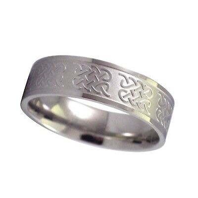 $9.99 • Buy Mens Celtic Ring Silver Stainless Steel Wedding Band 7mm Sizes 12-16 Comfort Fit