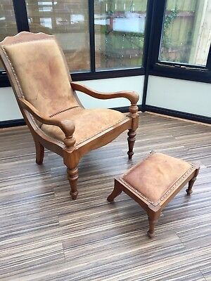 Indonesian Teak & Leather Arm Chair And Stool • 290£