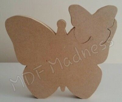 Mdf Craft Shape. Wooden Butterfly With Smaller Butterfly Insert • 4.15£