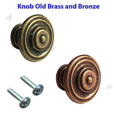 Solid Brass Knobs Furniture Old Effect Knob For Cupboard Door Drawers Wardrobe • 5.49£