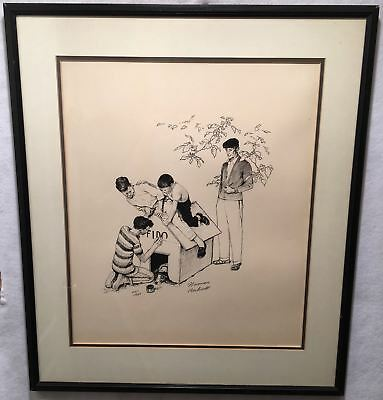 $ CDN2194.32 • Buy Norman Rockwell Fido's Dog House Framed Signed Lithograph Print 25 X 29
