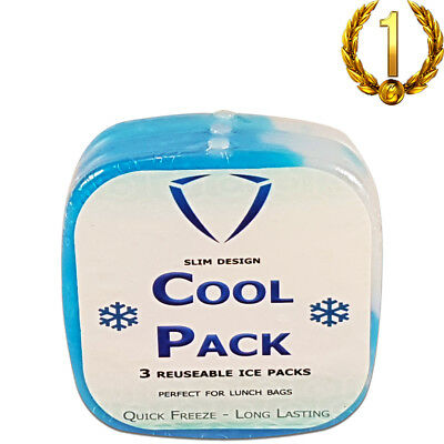 Ice Bricks For Lunch Bags Ice Packs Ice Freezer Block Cold Pack -3 Pack Slim • 8.28£