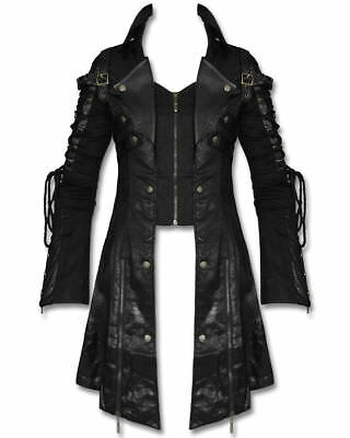 Punk Mens Gothic Steampunk Military Coat Faux Leather Goth Poison Long Jacket • 74.99£