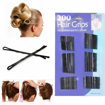 200 Pack Bobby Kirby Pins Black Hair Grip Grips Clips Clamps Salon Waved Slides  • 3.29£