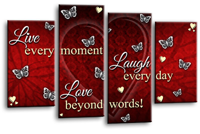 Love Live Laugh Quote Canvas Wall Art Family Print Red Teal Cream 4Split 44  • 29.99£