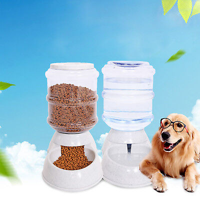 2 Pc Automatic Pet Food Drink Dispenser Dog Cat Feeder Water Bowl Dish 3.5L • 14.99£