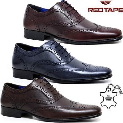 Mens  Leather Two Tone Formal Office Smart Work Lace Up Oxford Brogue Shoes Size • 18.95£