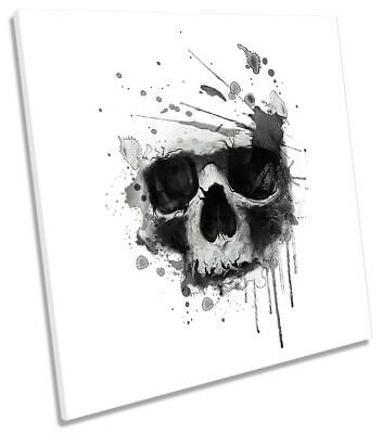 Grunge Skull Urban Framed CANVAS PRINT Square Wall Art • 24.99£