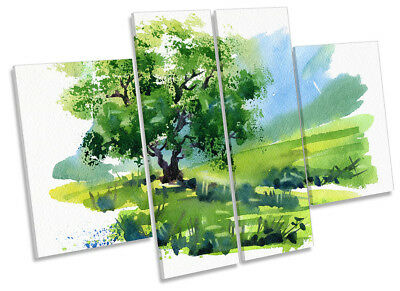 £48.99 • Buy Green Landscape Tree Repro Framed CANVAS PRINT Four Panel Wall Art