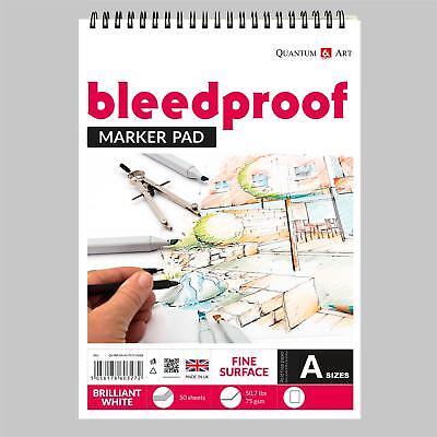 £9.99 • Buy Bleedproof Sketching Drawing Marker Paper Pad - On Spiral - 75gsm - 50 Sheets